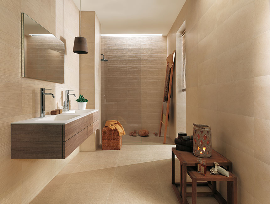 Beige bathroom decor interior design ideas for Salle de bain faience beige