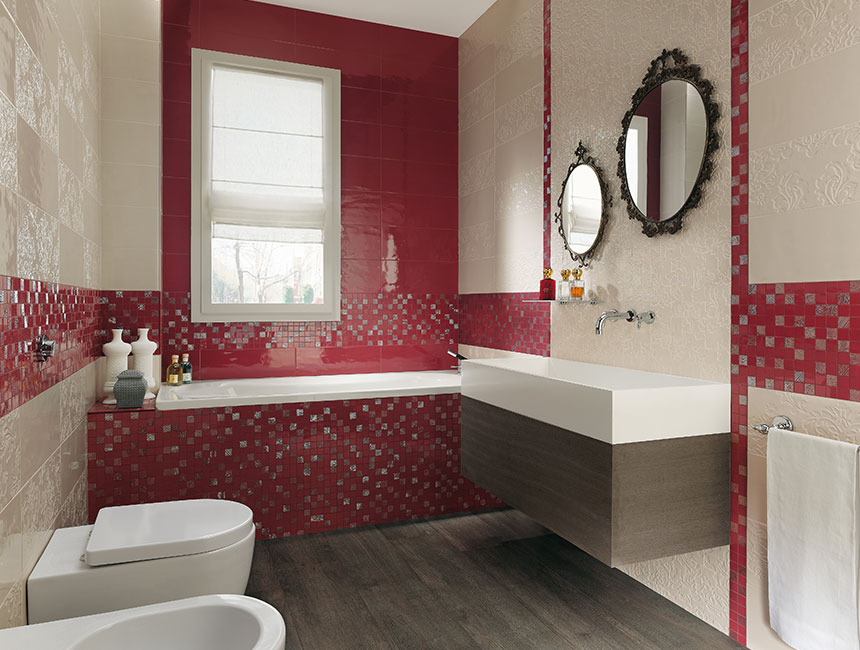 Red Cream Bathroom Design Interior Design Ideas
