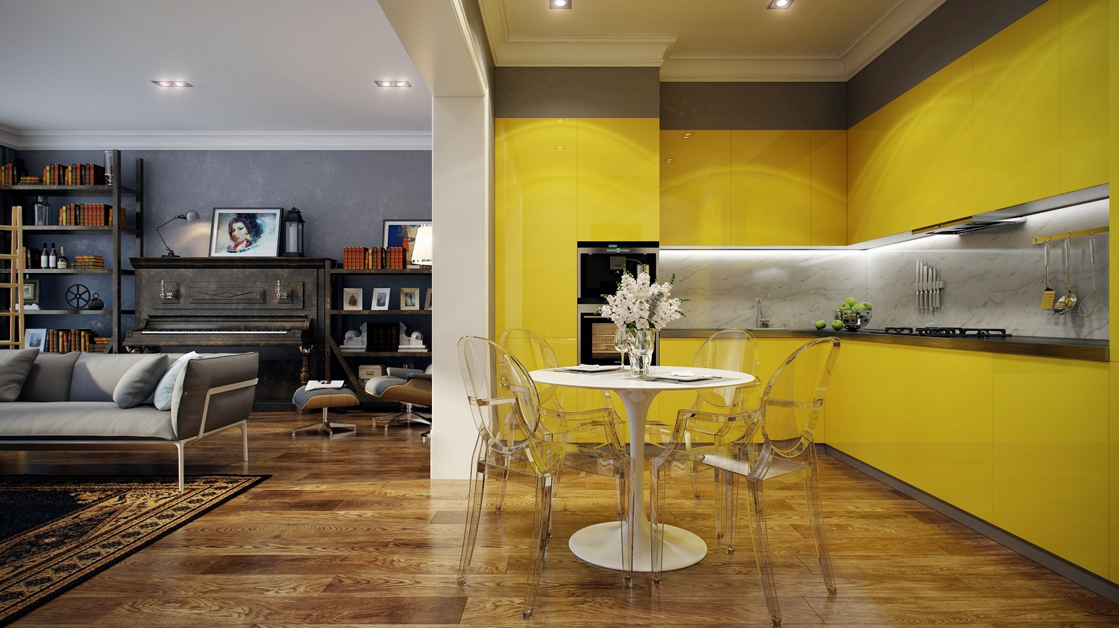 Inspiring Yellow White Kitchen Cabinets