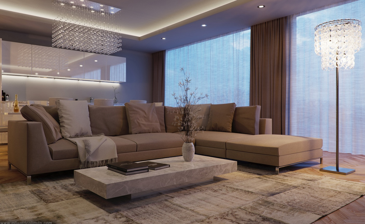 Taupe sofa interior design ideas - Deco salon taupe beige ...