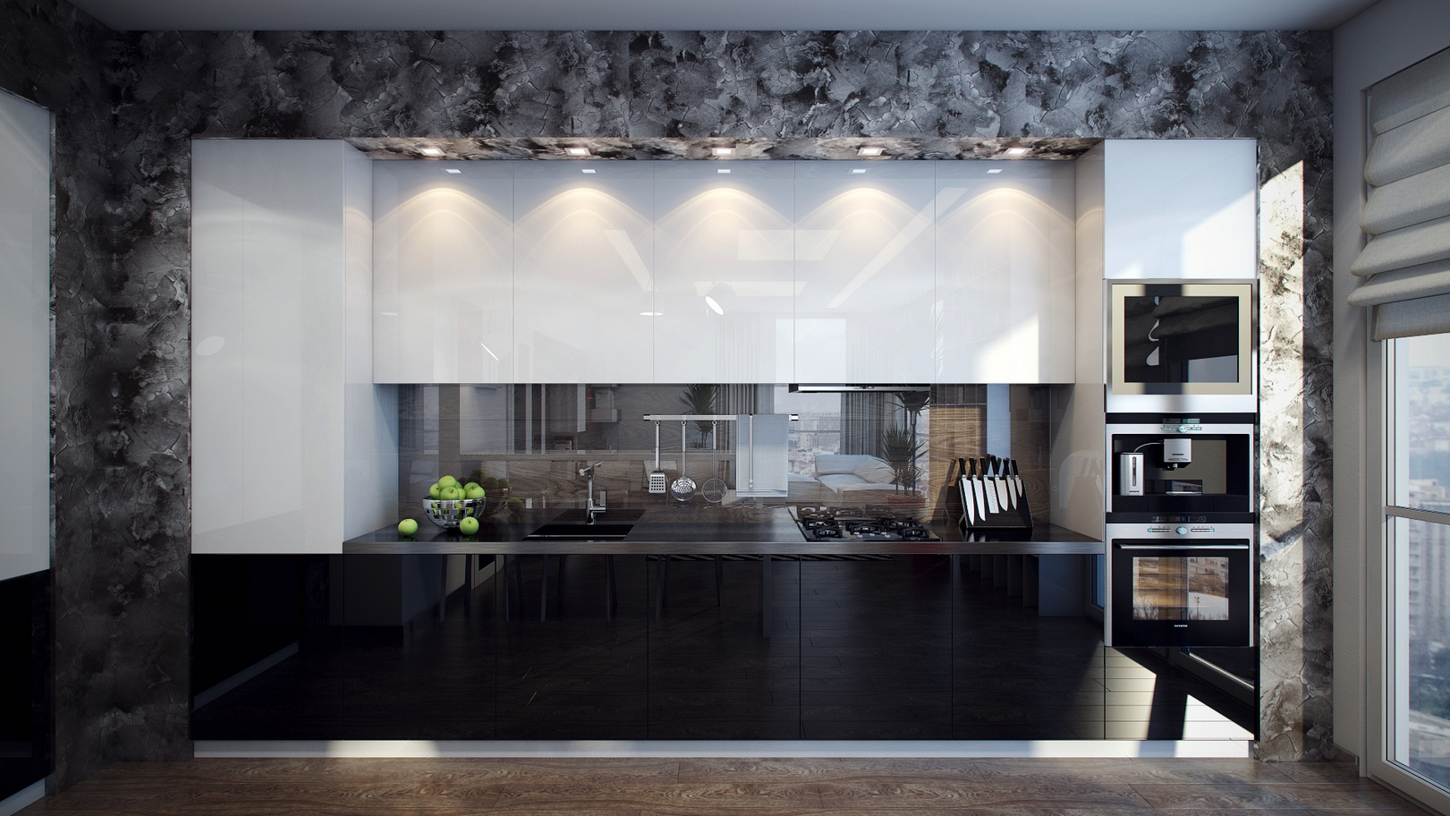 White black kitchen units interior design ideas for Long kitchen wall units