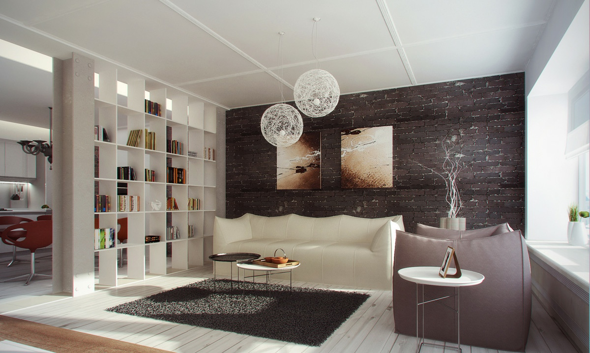 Interior Partition Ideas Using A Massive Bookshelf To Divide A Room Is A Great Practical Use Of