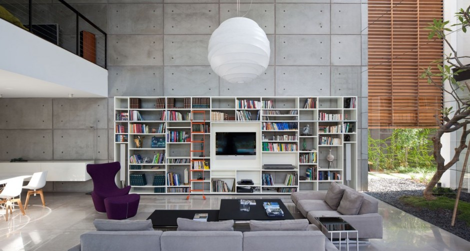 Cement Accent Wall : Contemporary bauhaus style home in haifa