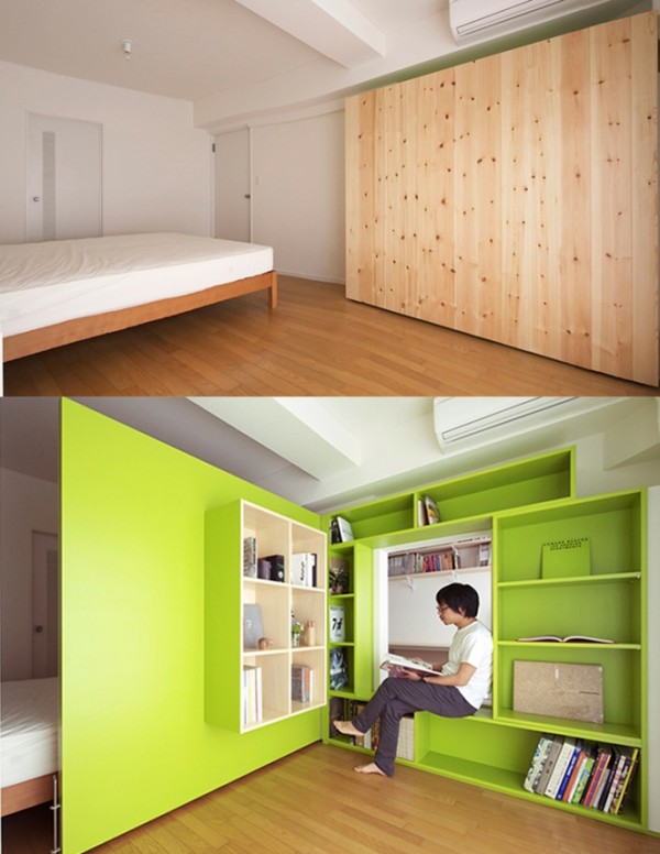 This amazing room divider actually hides an entire room away. Just fold in the wall and create a perfect cozy reading nook. Fold it away for sleep without distraction.