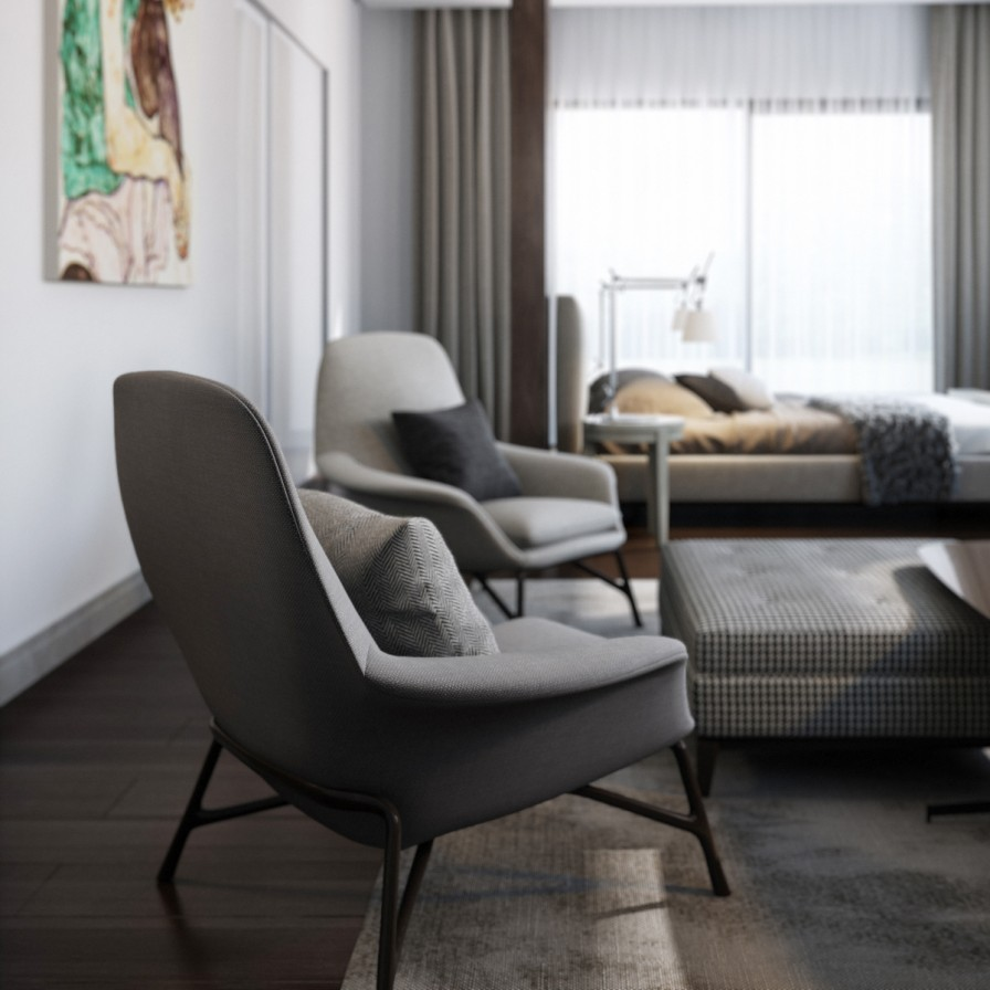 Matching gray modern chairs interior design ideas for Bedroom decor chairs