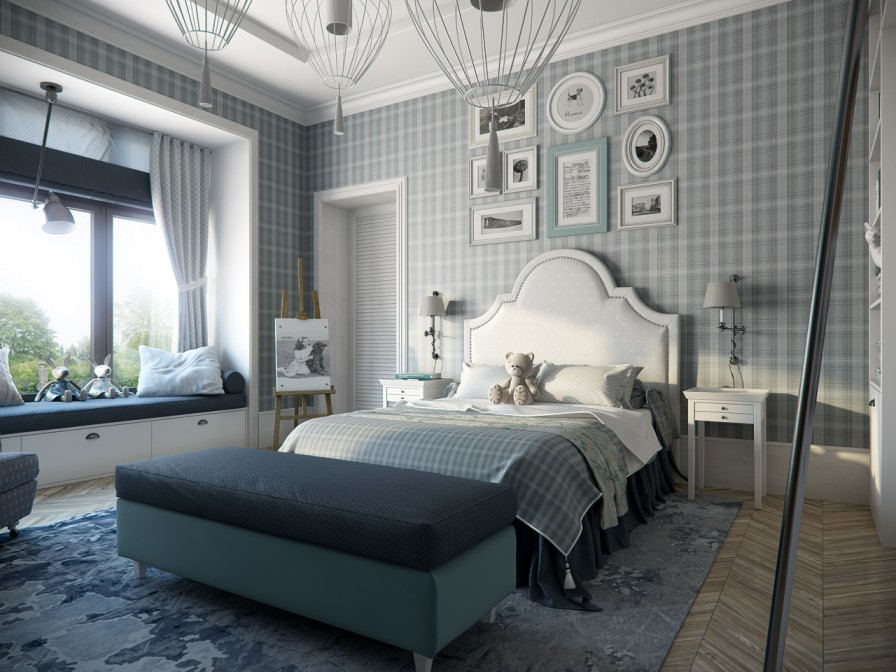 Calming modern interiors for Grey bedroom wallpaper