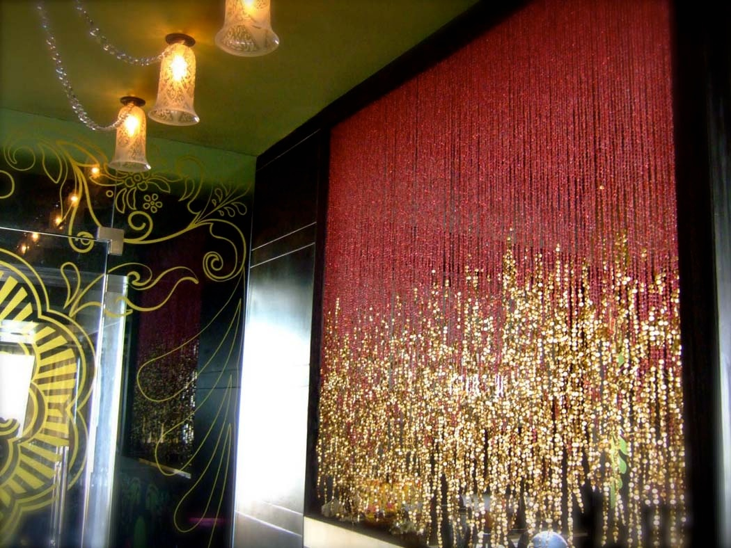 how to create a crystal curtain ceiling display