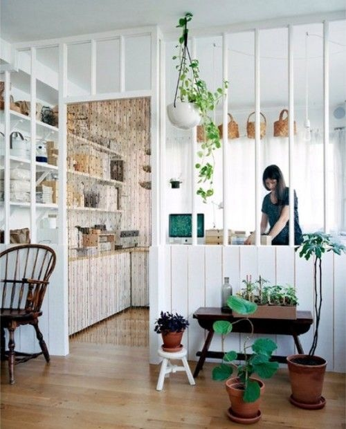 White Partial Room Divider Interior Design Ideas