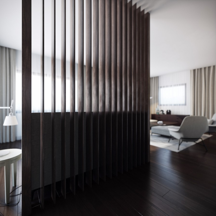 Wood slat room divider interior design ideas for Living room divider designs