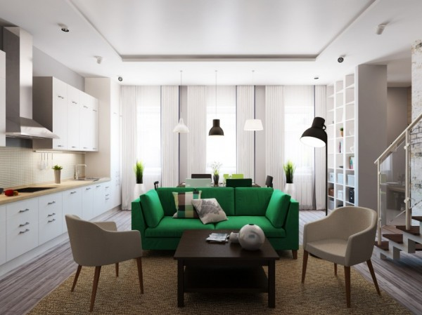 The green Stockholm sofa takes centre stage in this downstairs living dining space.