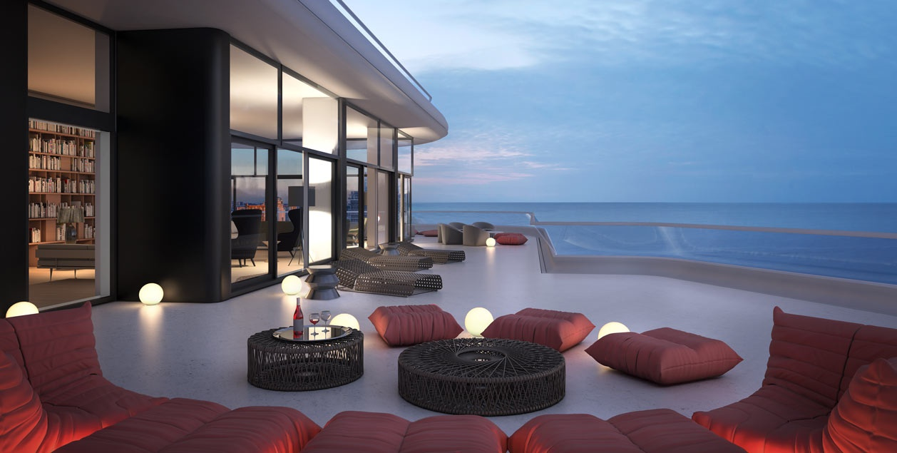 Faena house miami beachside penthouse with layers of luxury for Luxury balcony design