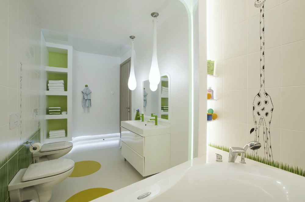 Futuristic penthouse with twin toilets for Disenos de banos chicos
