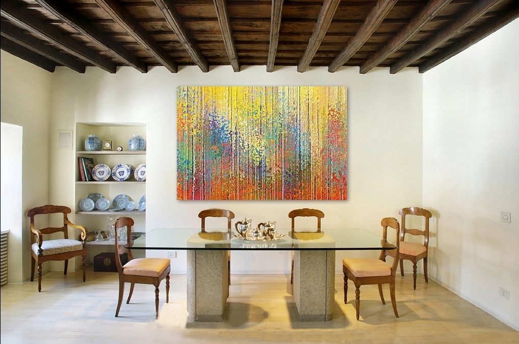 Home decorating with modern art for Modern dining room wall decor ideas