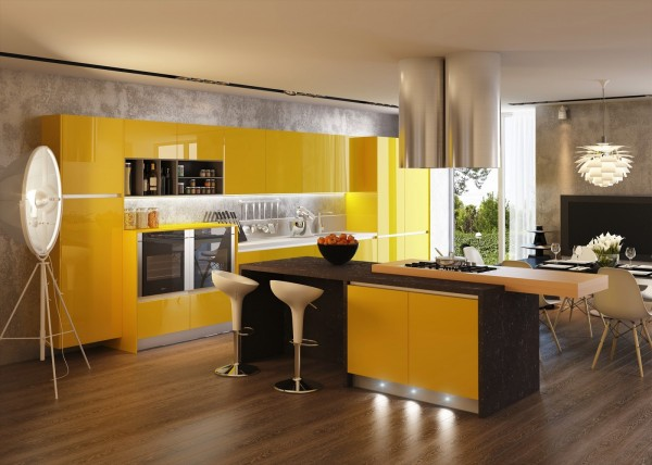 High Gloss Yellow Mod Kitchen Cabinets