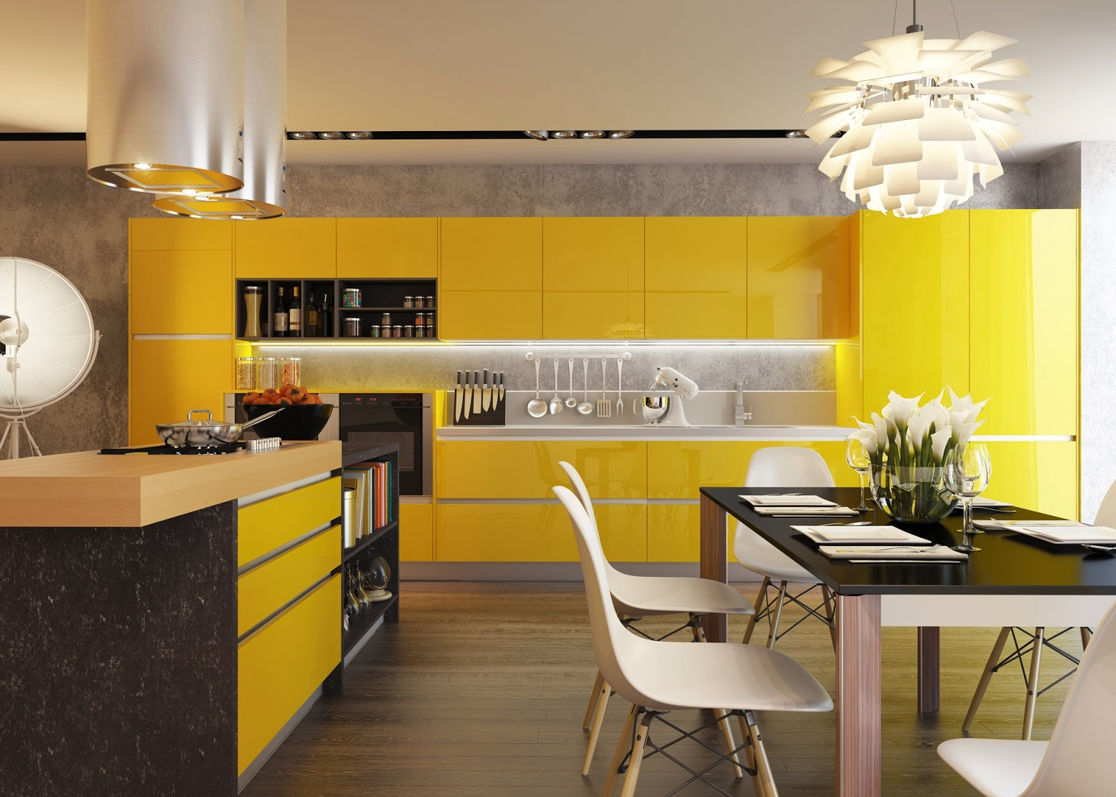 Kitchens with contrast for Modern yellow kitchen cabinets