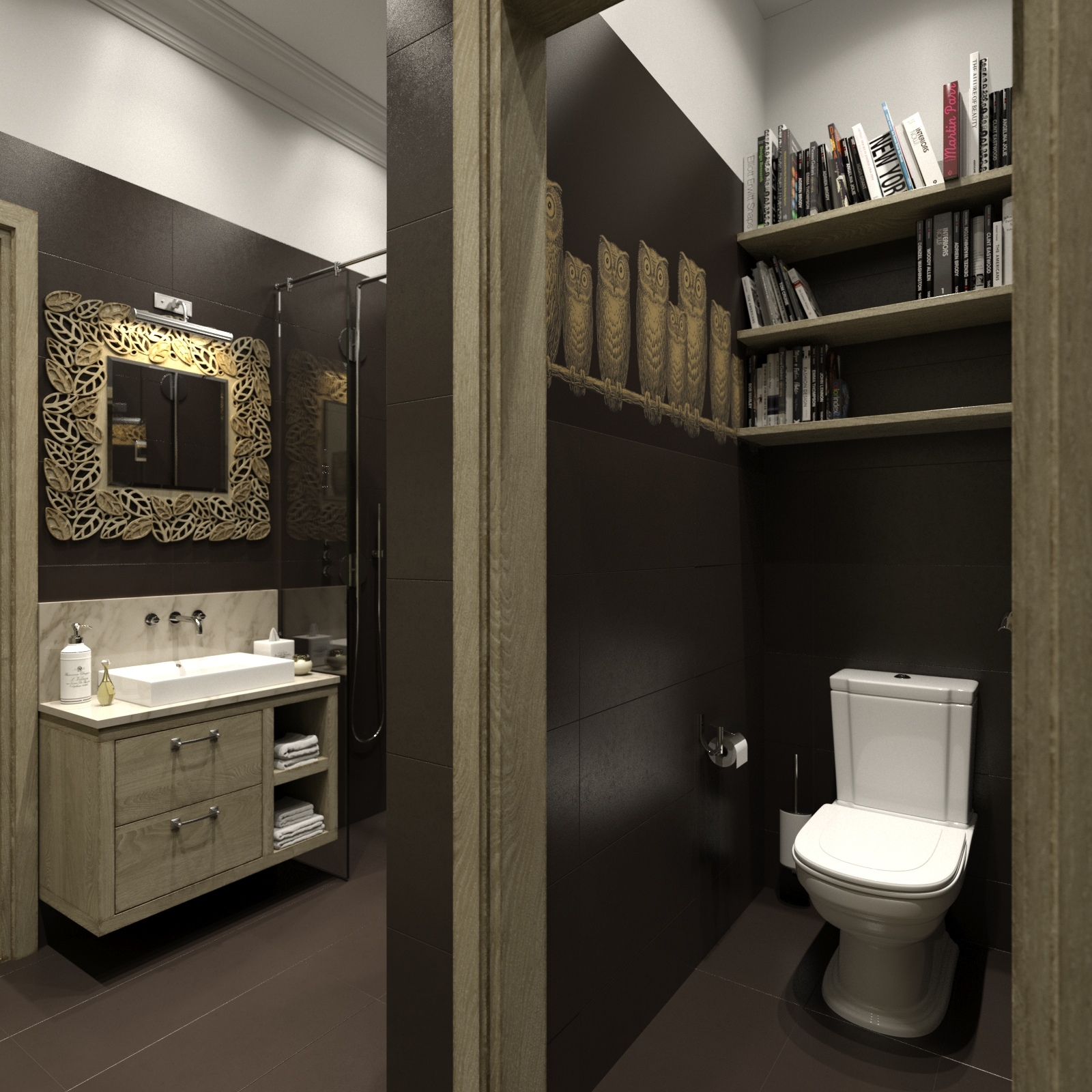 Homey feeling room designs for Toilet room decor