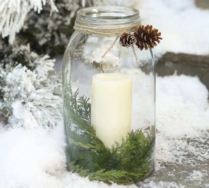 Mason Jar Candle Holder - Outdoor christmas decoration