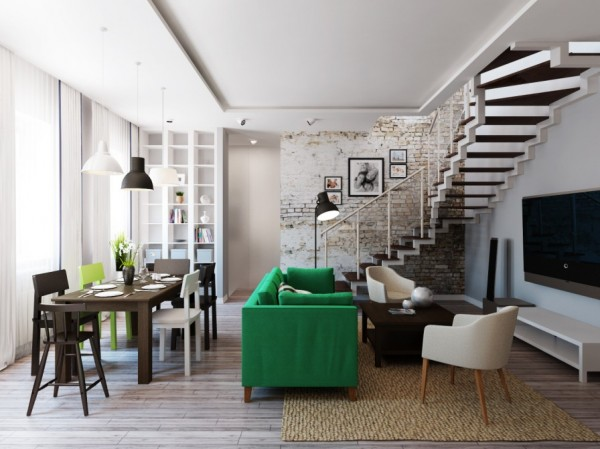 Sharp lines with lots of dark and neutral woods, colours against the bright green Stockholm sofa.