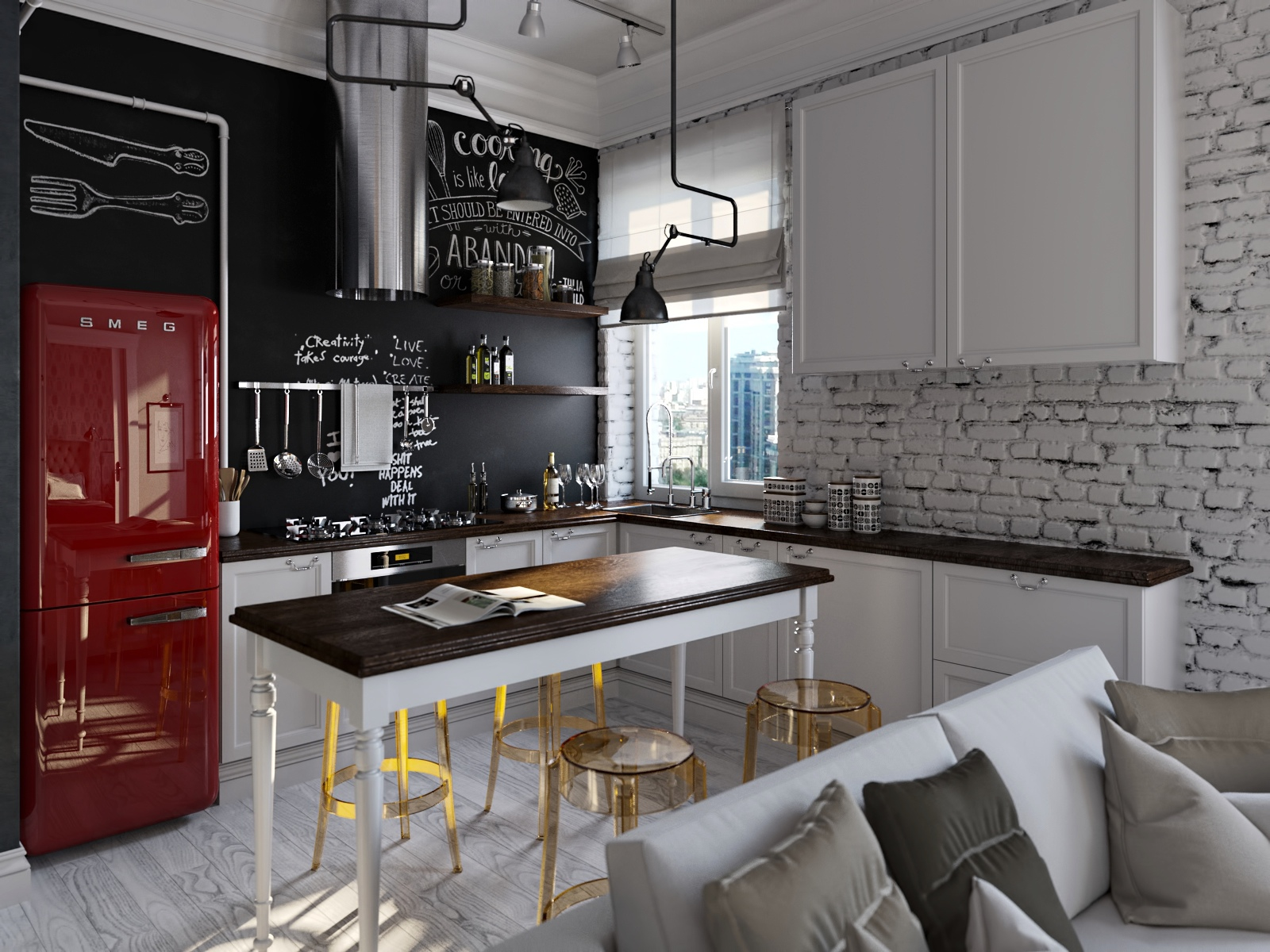 Red smeg fridge interior design ideas.