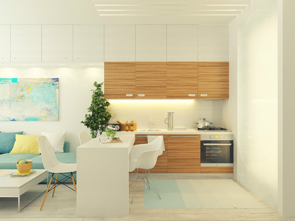 Small 29 square meter 312 sq ft apartment design Small square kitchen designs