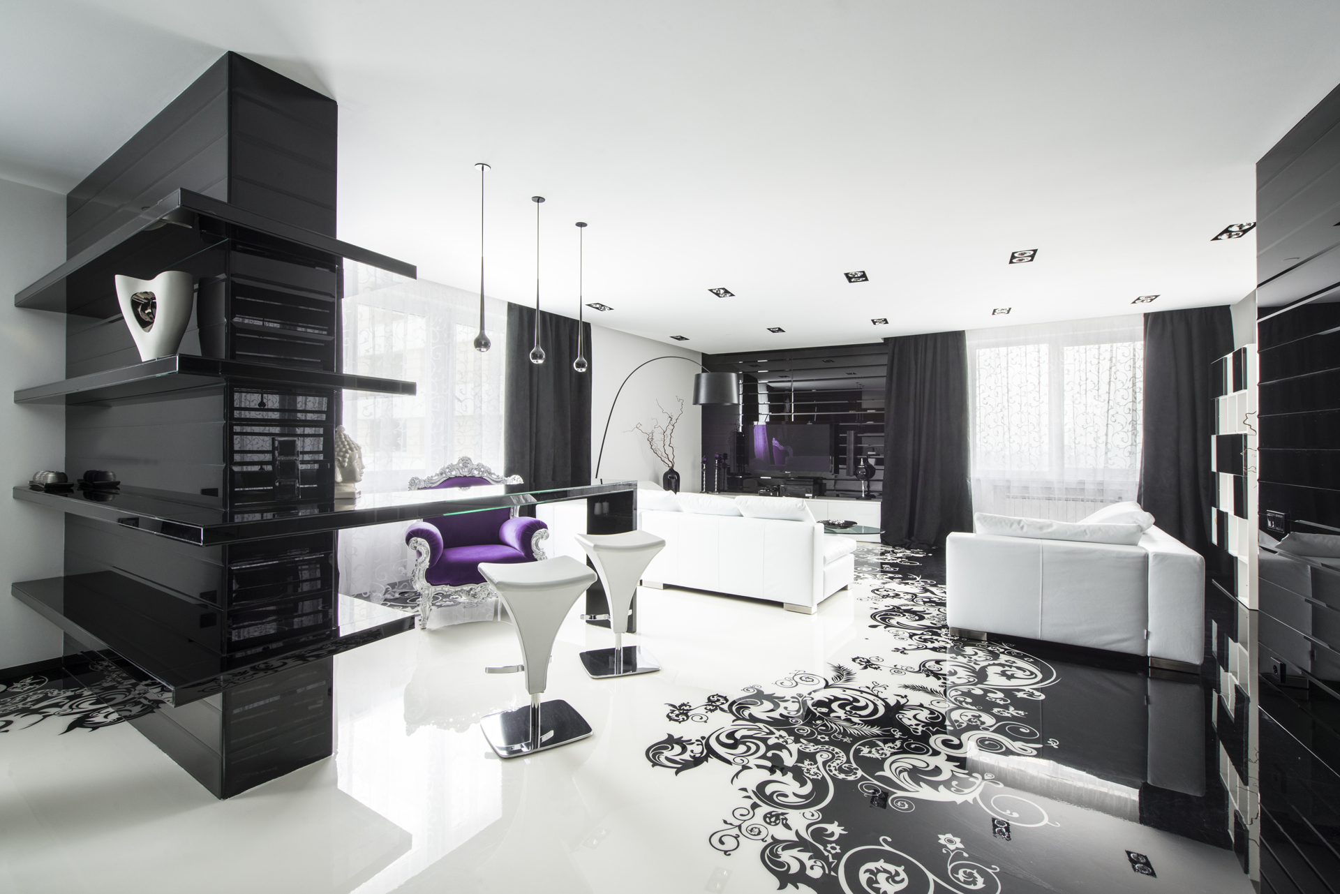 Black and white graphic decor White house interior design