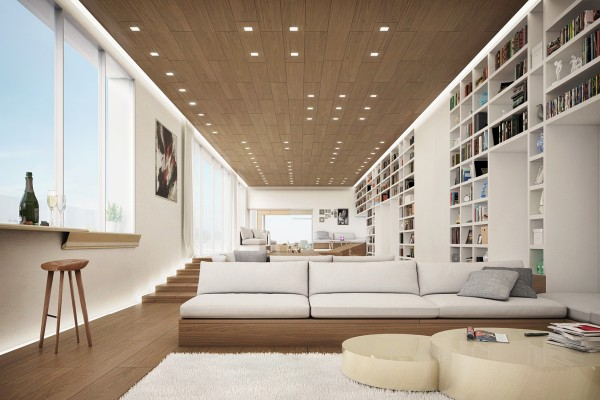 The first space is designed by Leandro Silva, who brings us a vast home design with split floor levels and bespoke built in sofas that almost appear to extrude out of the wood floors. Massive rows of bookcases are built into the walls to provide seemingly endless storage for artefacts and the home library.
