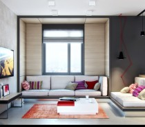"The first of this duo of designs is a home in Kiev, which has a feminine feel without resorting to the all too overused pink and sparkly, or fuzzy red love hearts, though this visual does have a funky lipstick-red current running through it that has been clashed with purple-pink and a zesty splash of orange. The apartment was designed for a young girl ""living in the rhythm of the 'Big City""."