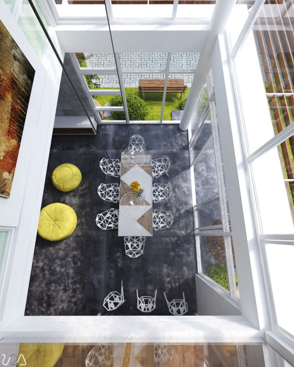 In this space dual height windows create a sun spot for dining that has been furnished with funky geometric chairs, which allow the natural light to flow through them, and the angular shapes are echoed in the design of the table top. Bright yellow accent pieces draw on inspiration from the sunny surroundings.