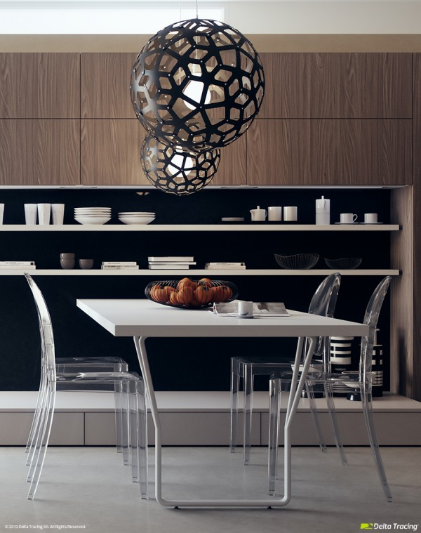 Here's a great example of striking illumination in the cooking/dining space. This style of pendant shade looks awesome on its own but even better in multiples.