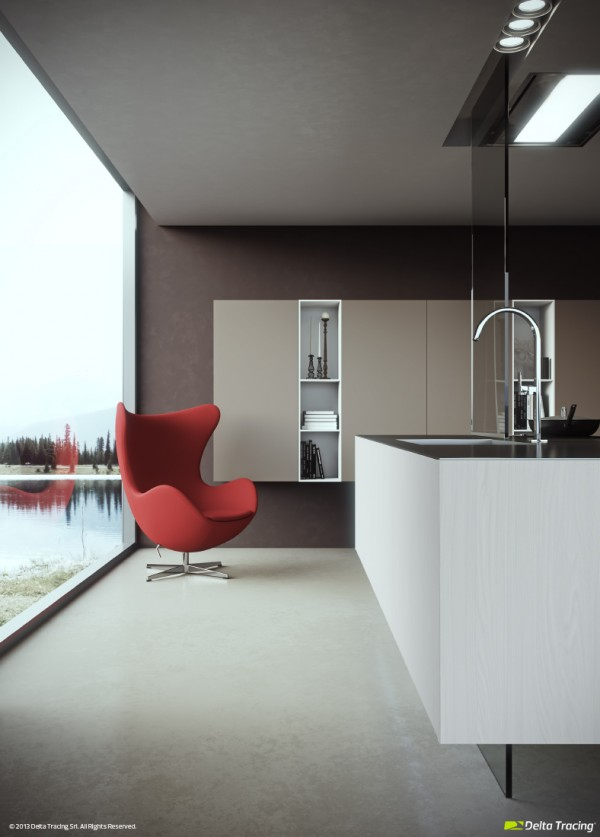 This kitchen vista employs a different tack in making a statement, introducing a vibrant red accent chair where the outside view can be enjoyed whilst the chef waits on the cooker to ping. At the basin, an elegant chrome tap echoes the curvaceous lines of the seat design.