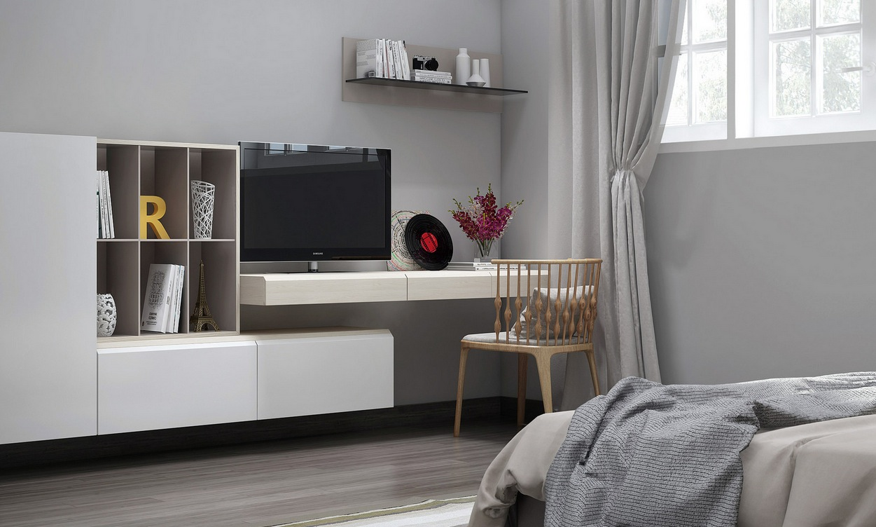 Bedroom tv unit interior design ideas for Bedroom unit designs