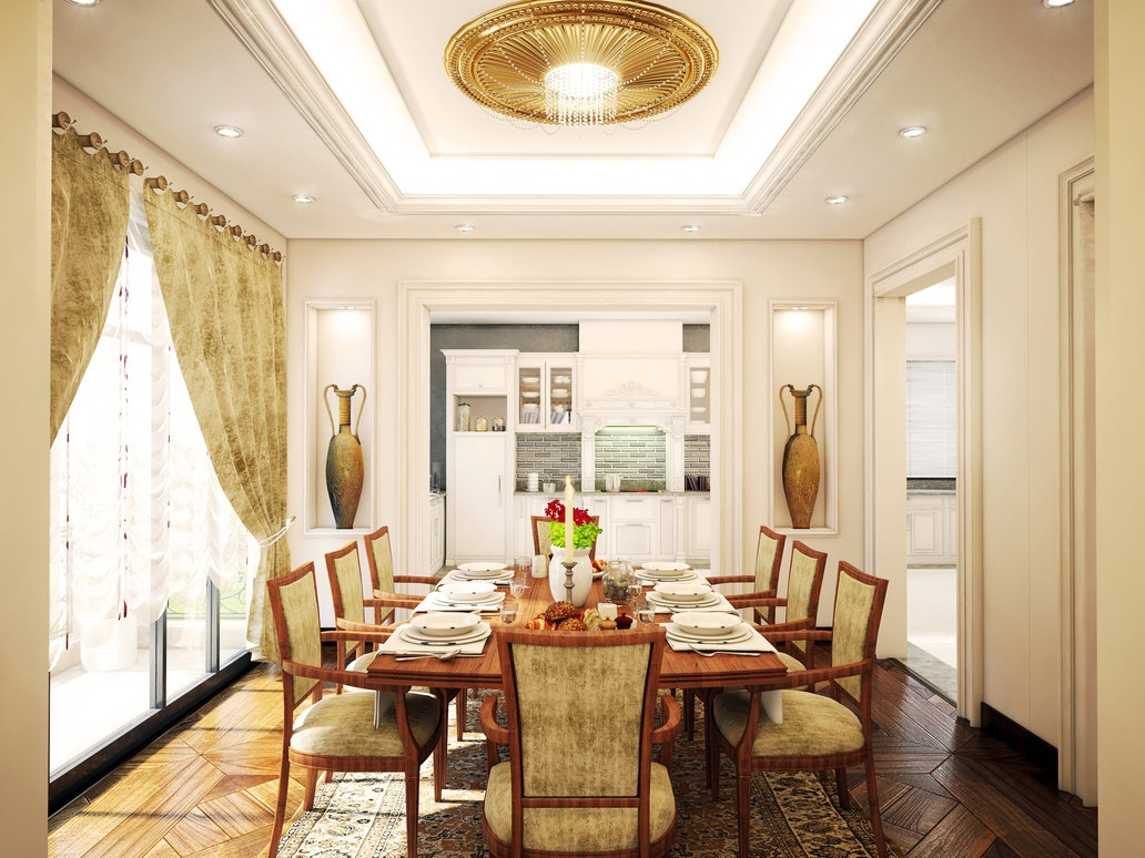 Formal dining room decor for Interior design for hall and dining room