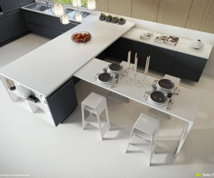 This layout provides an angular solution to kitchen meets dining room, where the run of kitchen units morph into dining area storage.