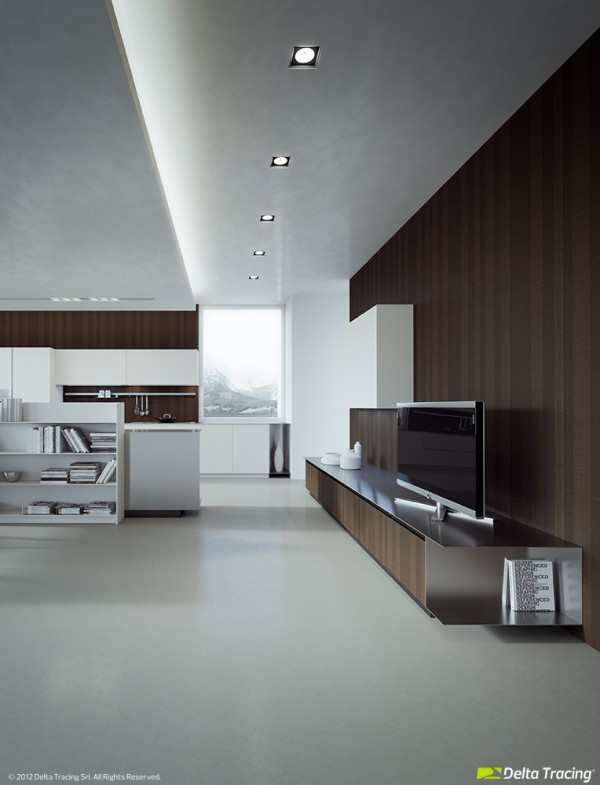 A wood grain clad wall ties in the entertainment wall with the culinary area, where the same material is utilized as a backsplash.