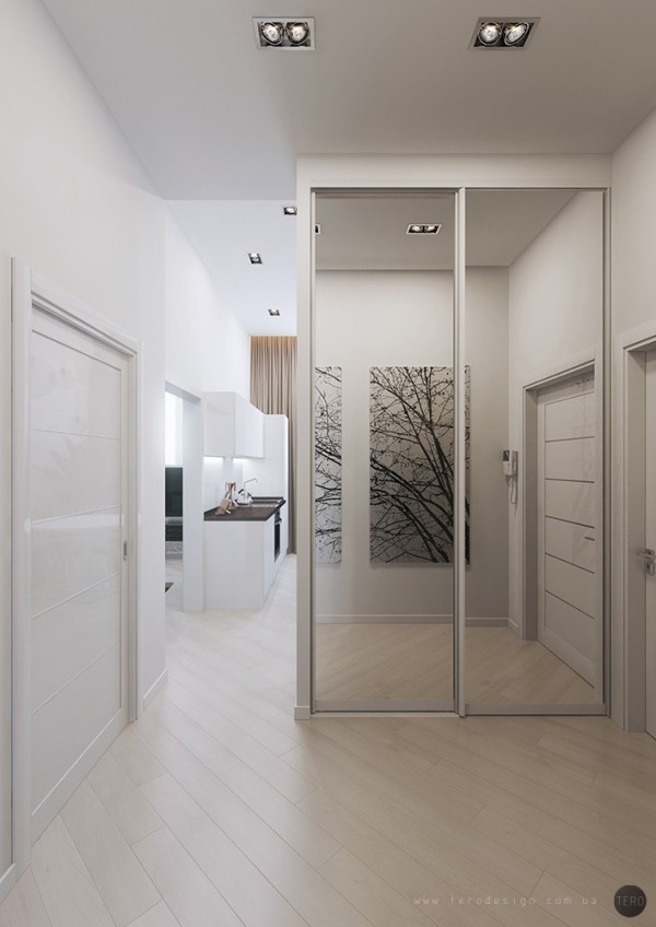 Mirrored doors give an extra feeling of light an space in any room.