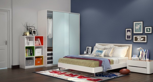 A room scheme for youngsters, this décor uses small bursts of color to give the space a fun look whilst not appearing too immature.