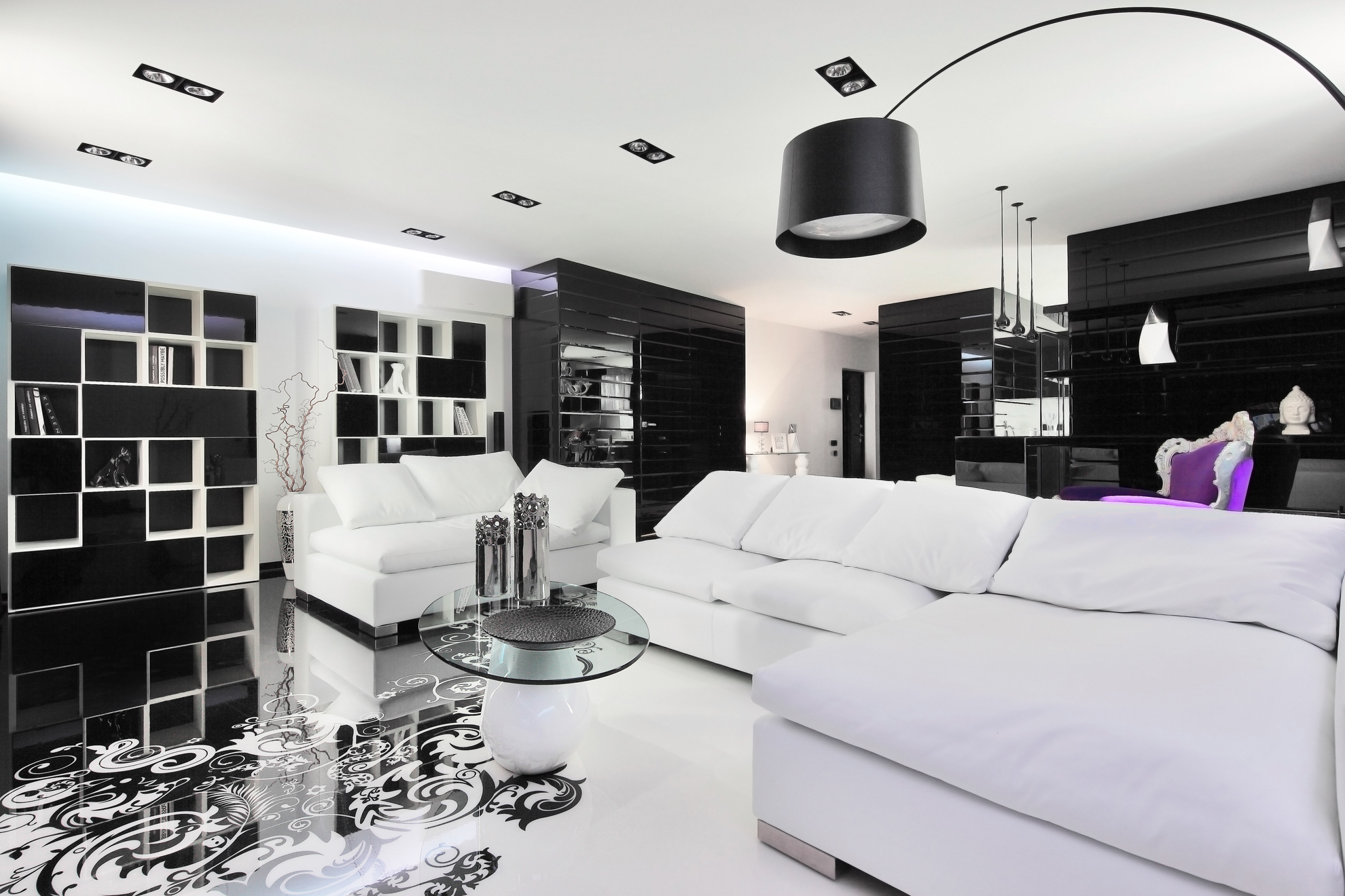 Black and white graphic decor - Black accessories for living room ...