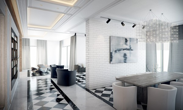 Black white floor tiles