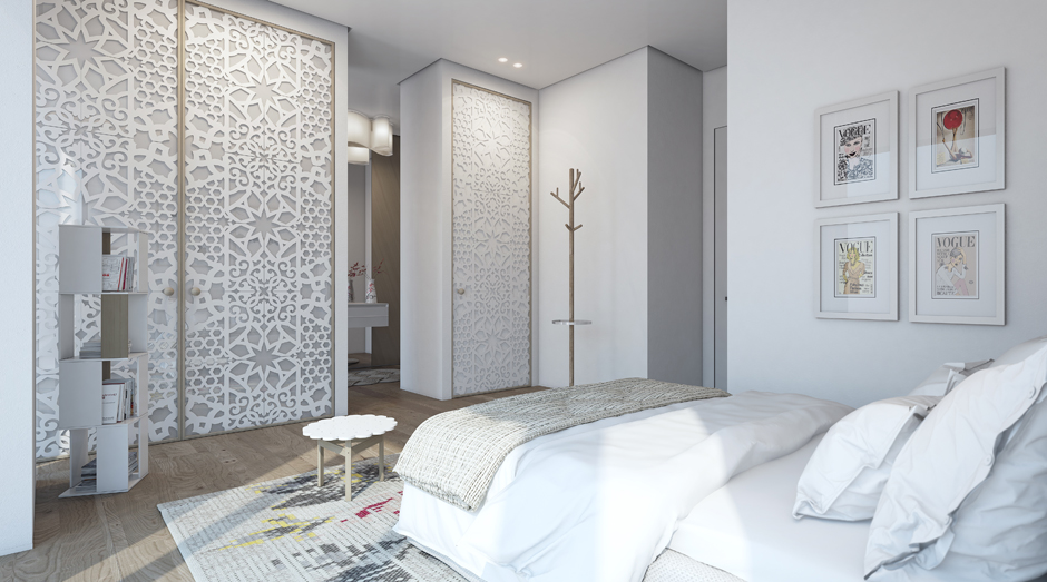 Fabric Paneled Closet Doors View Full Size Contemporary Bedroom