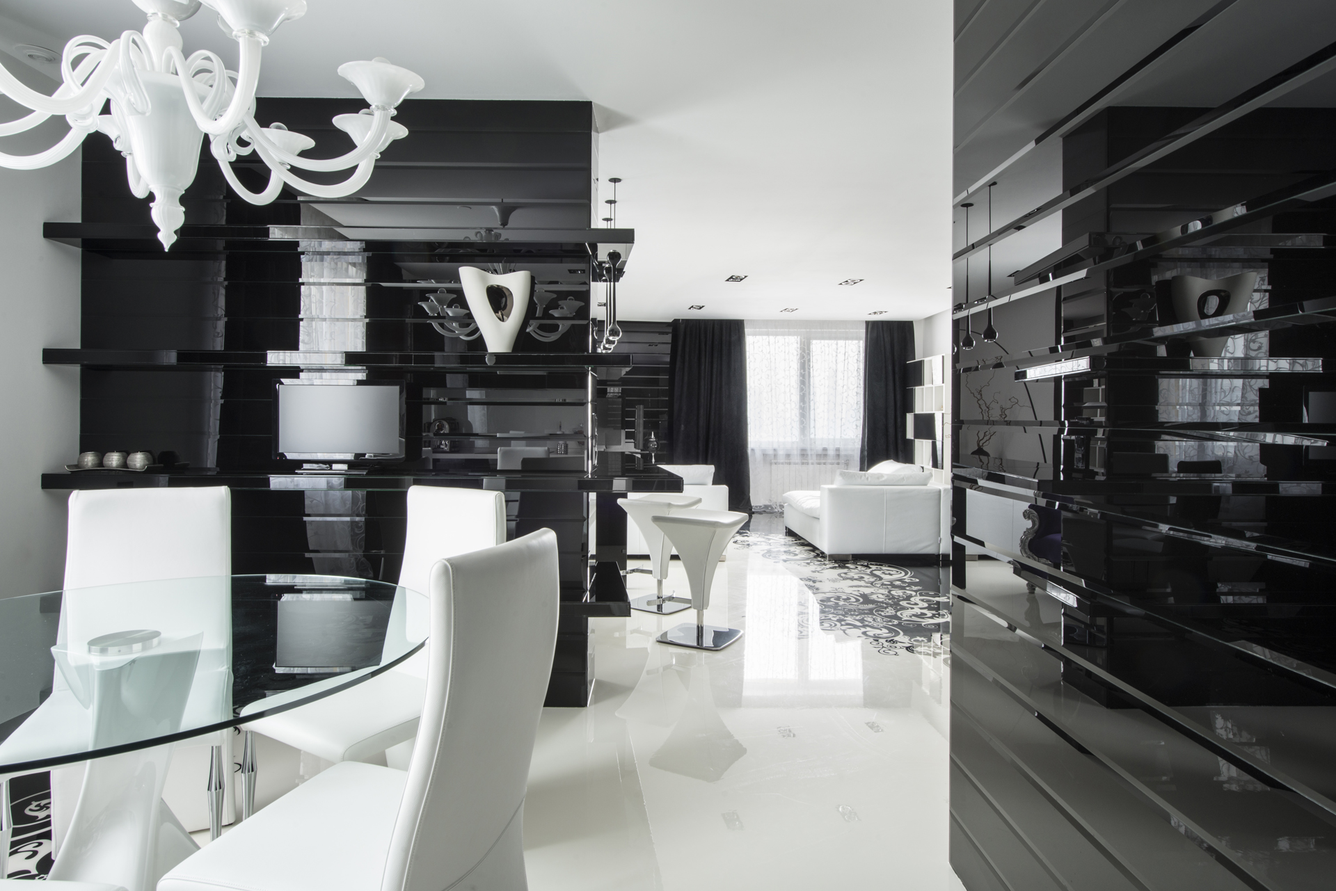 Modern black and white dining room - Modern Black And White Dining Room 14