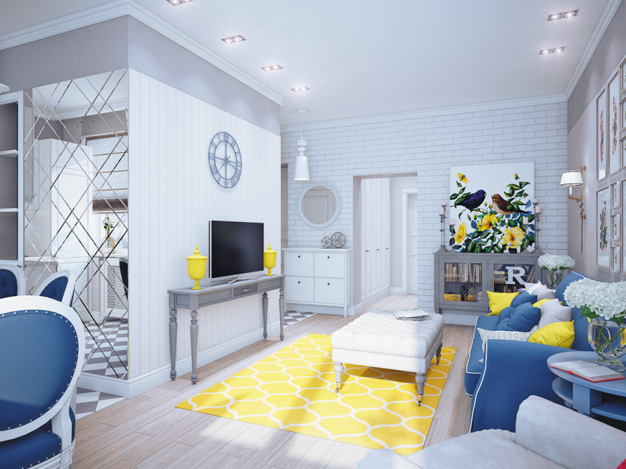 Blue and yellow home decor for Yellow and gray living room ideas