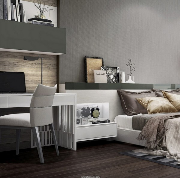 Sophistication is the aim of the game in this chic bedroom design that incorporates a home office area. The bedside tables are built into a chunky headboard for a contemporary streamlined look.