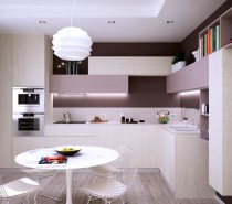 A quirky arrangement of wall cabinets makes the kitchen area appear larger than it's actual proportions, as the added interest drags the eye up and around the room.