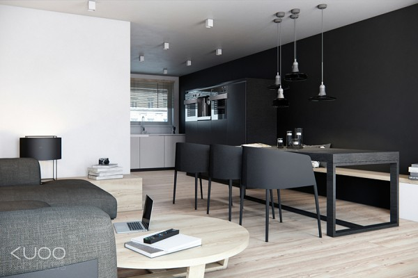The kitchen units too are in basic black, and this allows the tall units to blend away into the back wall.