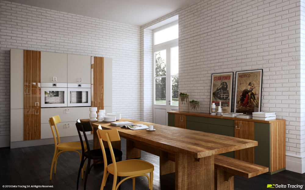White Brick Wall Kitchen - Kitchen layouts and lovely lighting