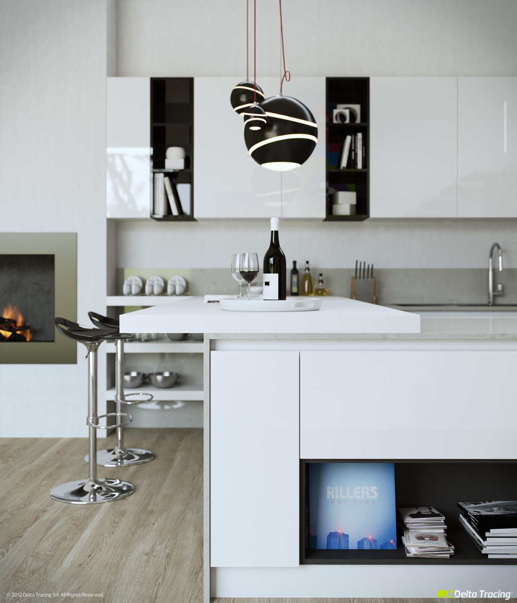 Black And White Kitchen - Kitchen layouts and lovely lighting