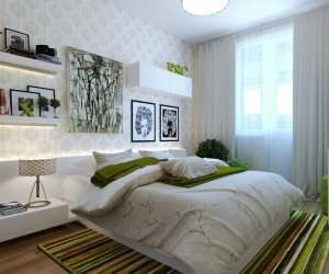 In this version of the same layout, the design goes back to the tried and tested wallpaper route as a feature wall covering, and this time the soft bedside illumination glows out from the top of the headboard, and from beneath shallow shelving. A natural color palette is used again in this one, but this time the fresh vivid green accents are the stars of the show.