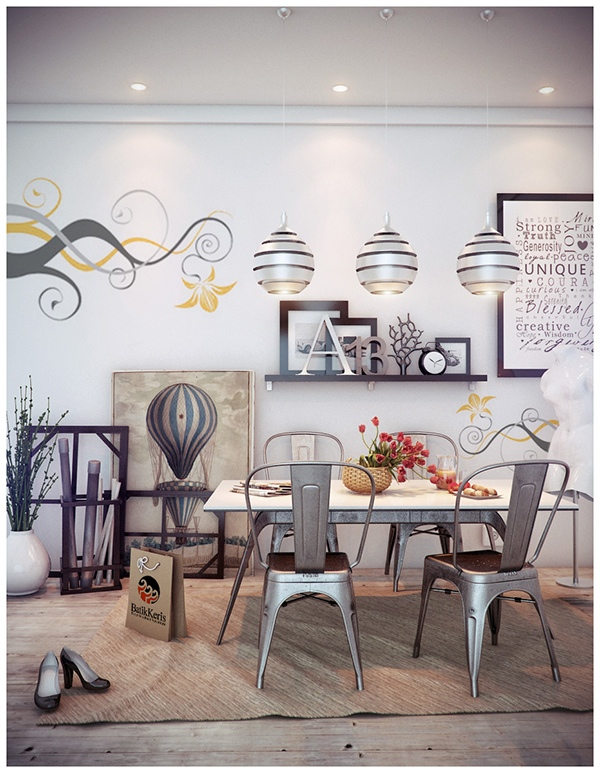 This whimsical setup uses metal chairs to bring the look bang up to date, along with a trio of eye-catching pendant lights and decorative wall decals.