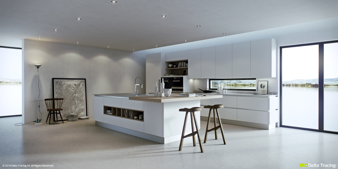 Minimalist White Kitchen - Kitchen layouts and lovely lighting