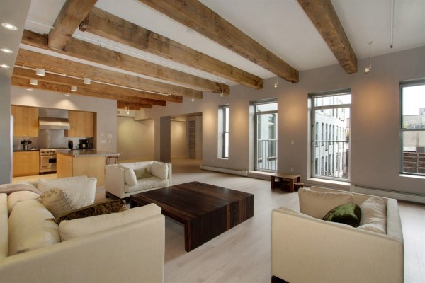 $17,000 per month will rent you this calm feeling home under rustic chunky ceiling beams.